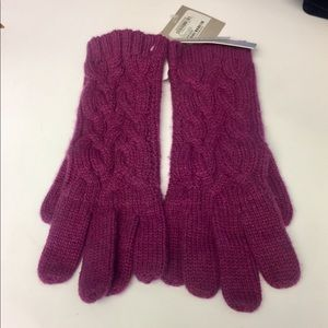 NORDSTROM CASHMERE KNIT GLOVES ONE SIZE RASPBERRY